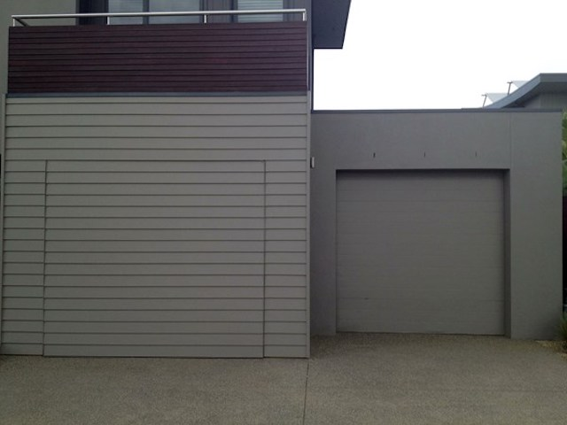 Flush Finish Weatherboard Tilt Door2 Torquay Sands Garage Doors