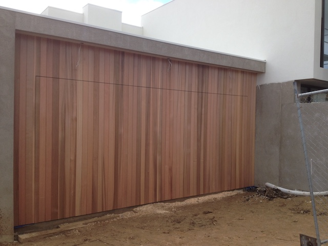 Flush Finish Cedar Tilt Door2 Barwon Heads Garage Doors