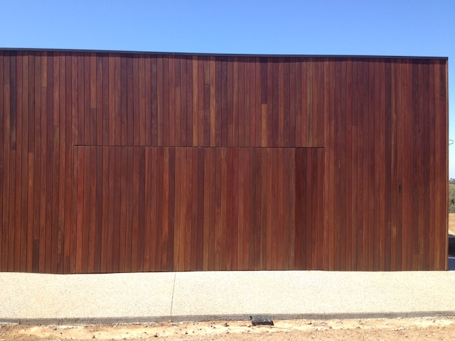 Flush Finish Spotted Gum Tilt Door Barwon Heads Garage Doors